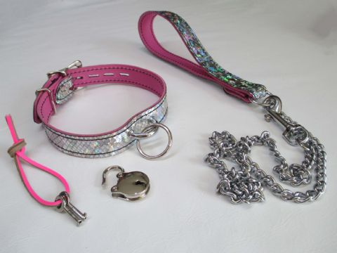 Unicorn Design Leather Dee Bar Collar and Matching Leather/Chain leash